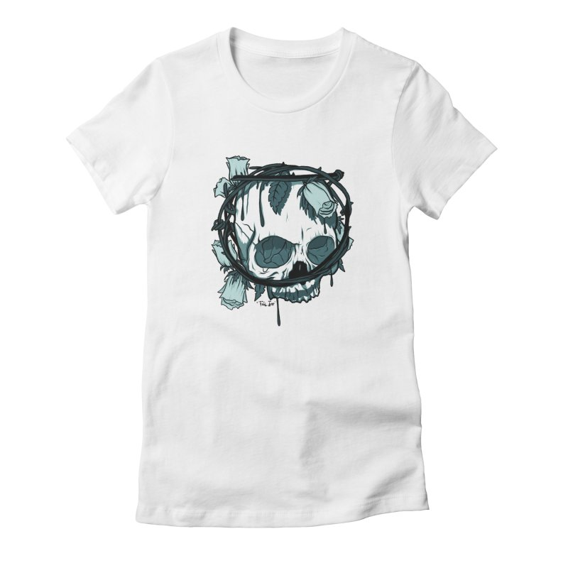 Flower Crown in Women's Fitted T-Shirt White by Tail Jar's Artist Shop