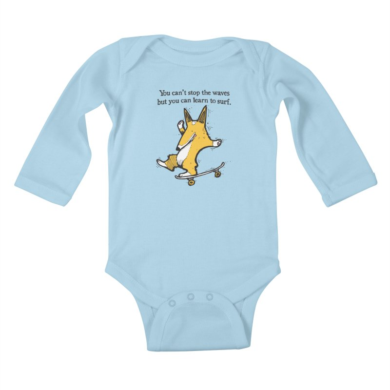 Skate-Corg in Kids Baby Longsleeve Bodysuit Powder Blue by Taj Mihelich