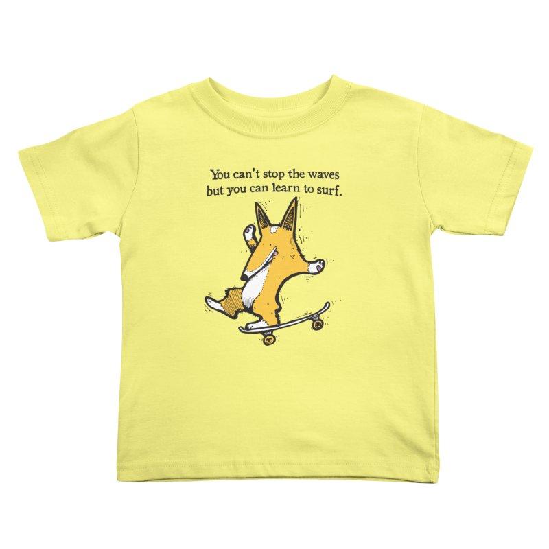 Skate-Corg Kids Toddler T-Shirt by Taj Mihelich