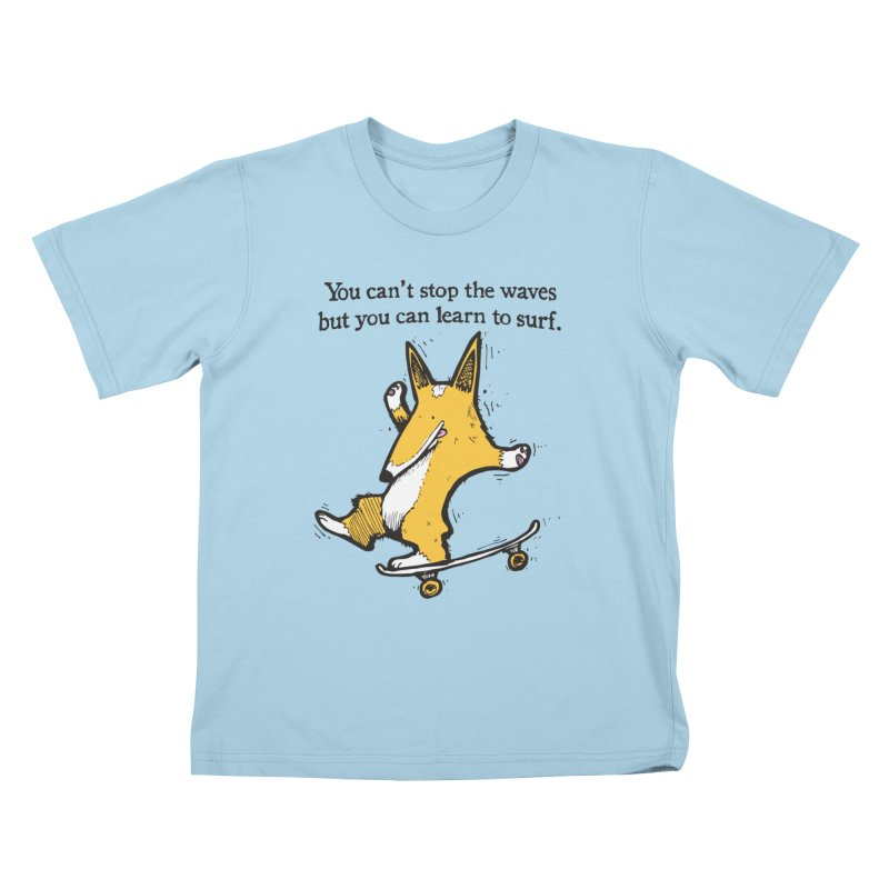 Skate-Corg Kids T-Shirt by Taj Mihelich