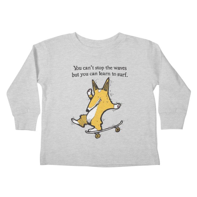 Skate-Corg Kids Toddler Longsleeve T-Shirt by Taj Mihelich