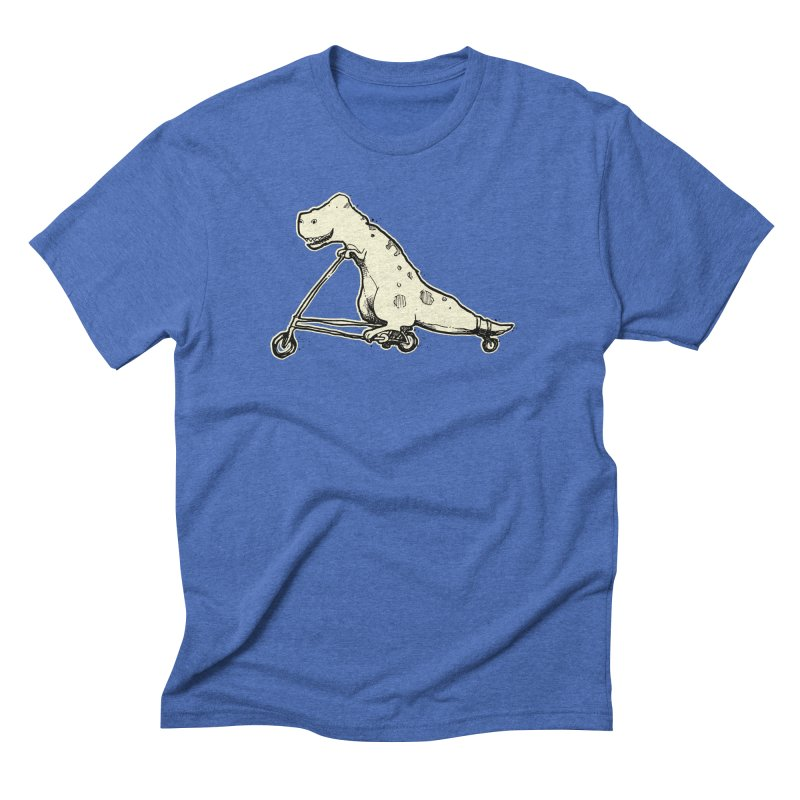 T Rex Rides Again in Men's Triblend T-Shirt Blue Triblend by Taj Mihelich
