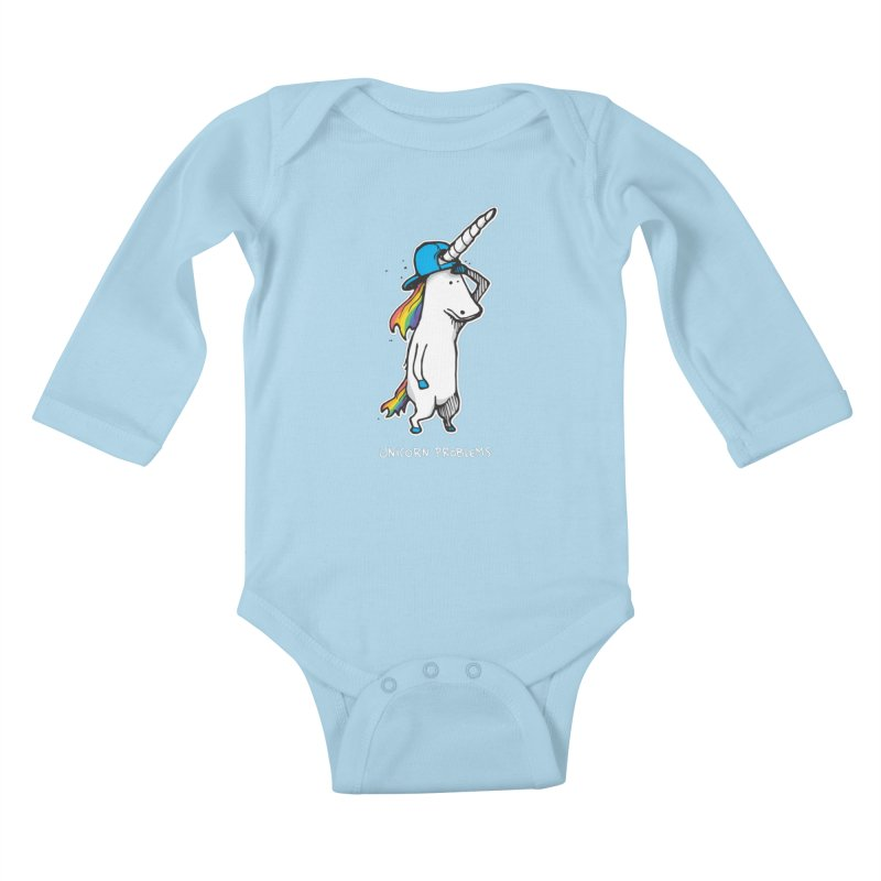 Unicorn Problems Kids Baby Longsleeve Bodysuit by Taj Mihelich