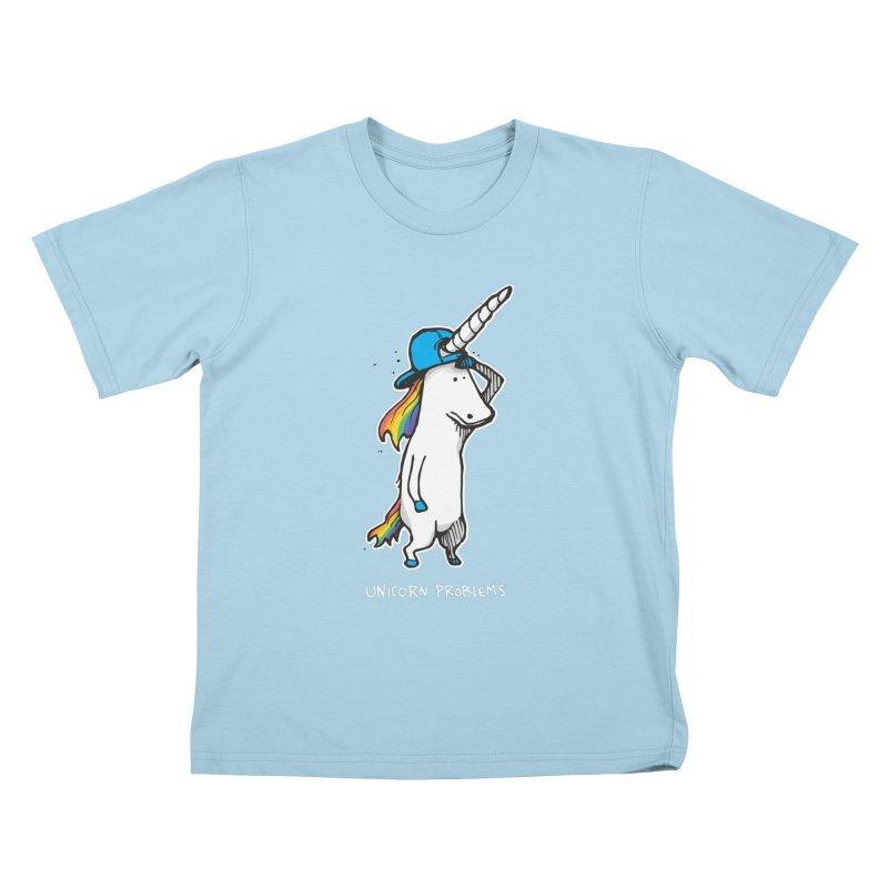 Unicorn Problems Kids T-Shirt by Taj Mihelich
