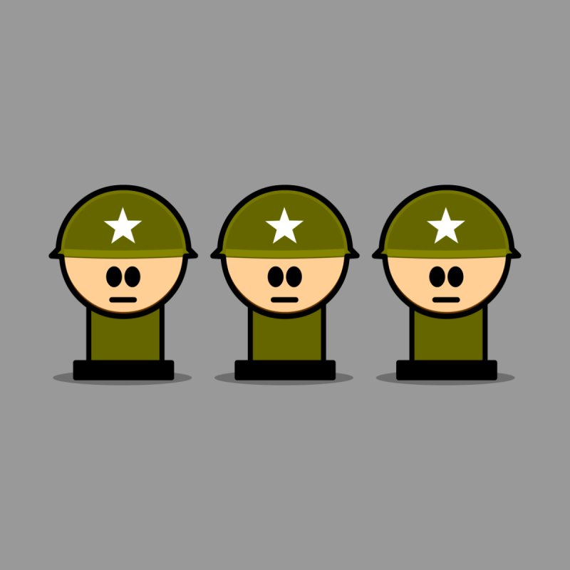 Three Little Soldiers by Threadless Tshirts Cartoons