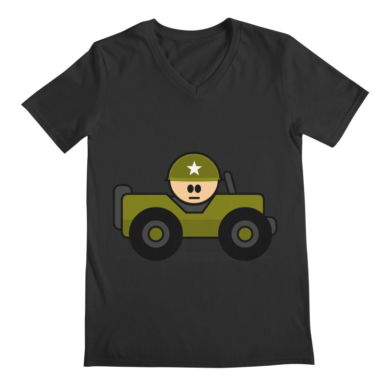 Little Soldier Jeep Men's V-Neck by Threadless Tshirts Cartoons
