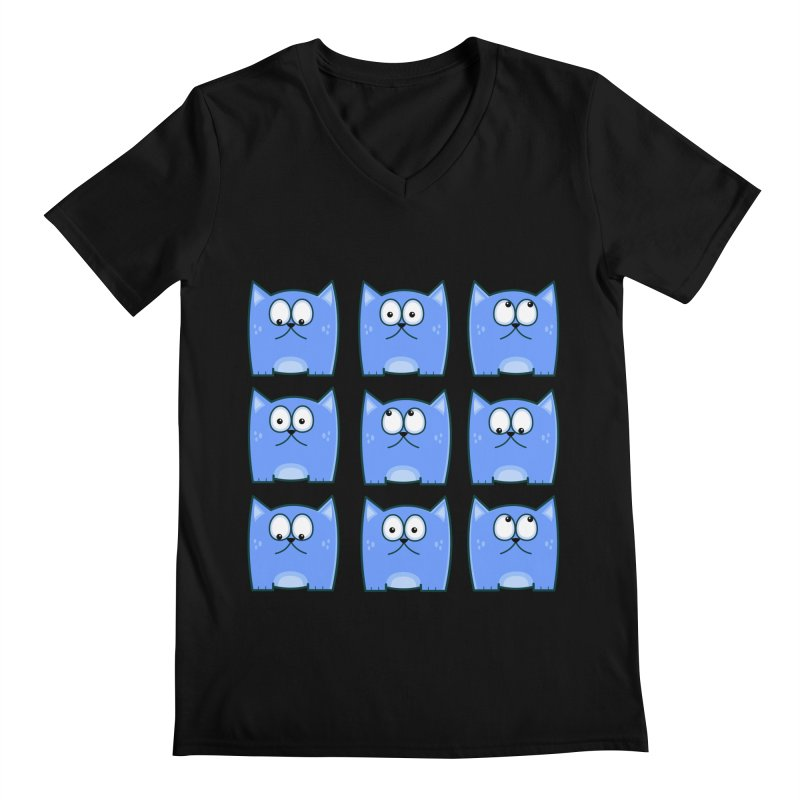 Cat Expressions Men's V-Neck by Threadless Tshirts Cartoons