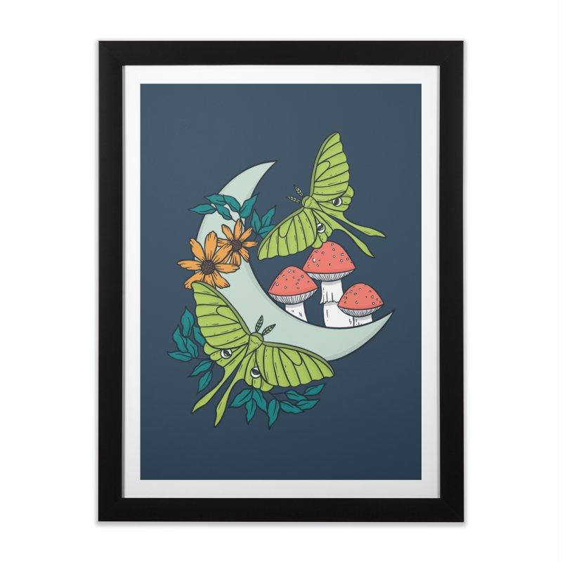 Moon, Moths, and Mushrooms Home Framed Fine Art Print by Tamara Lance