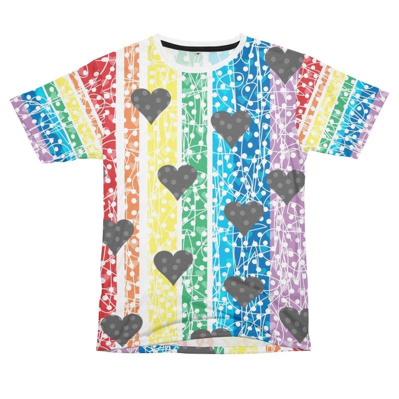 Rainbow Heart Women's Cut & Sew by Tangerine Dusk By KA