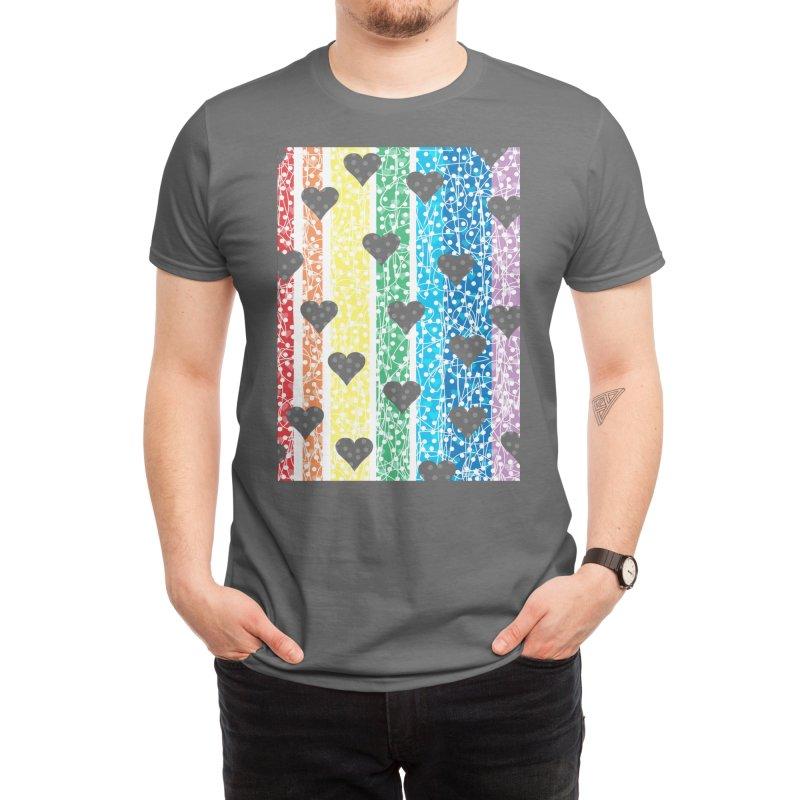 Rainbow Heart Men's T-Shirt by Tangerine Dusk By KA