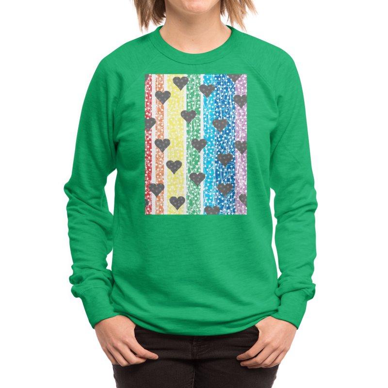 Rainbow Heart Women's Sweatshirt by Tangerine Dusk By KA