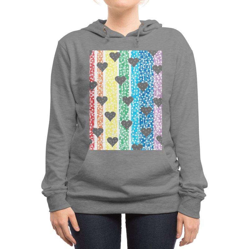 Rainbow Heart Women's Pullover Hoody by Tangerine Dusk By KA