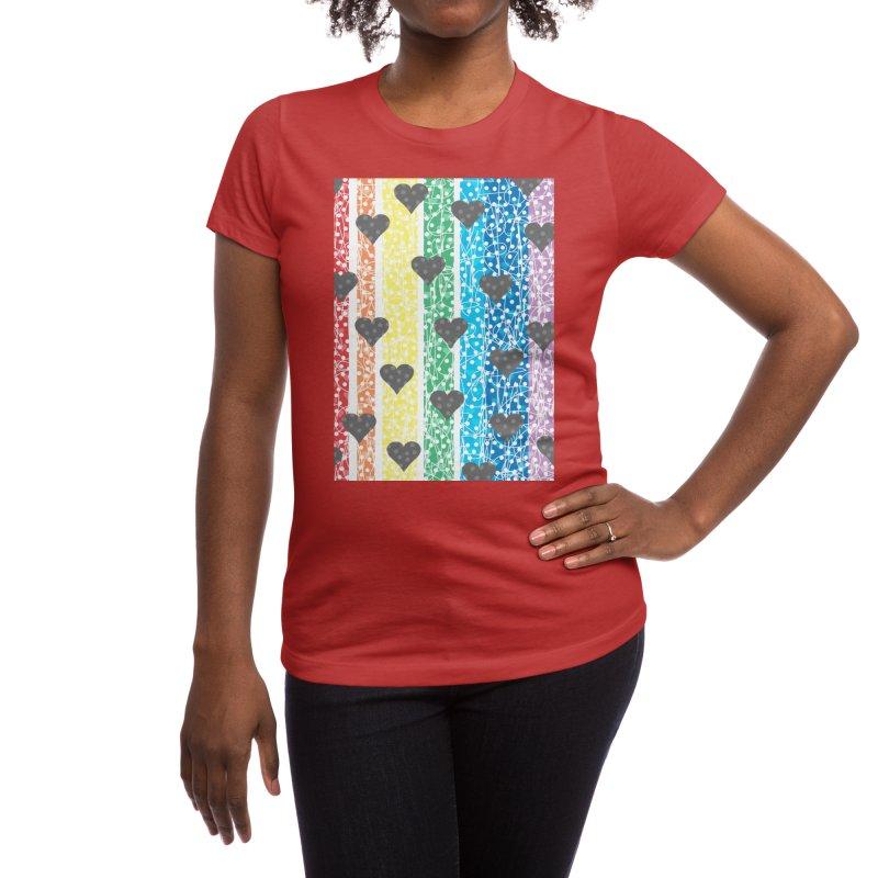Rainbow Heart Women's T-Shirt by Tangerine Dusk By KA