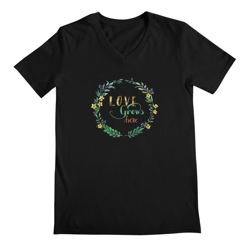 Love Grows Here Men's Regular V-Neck by tanjica's Artist Shop