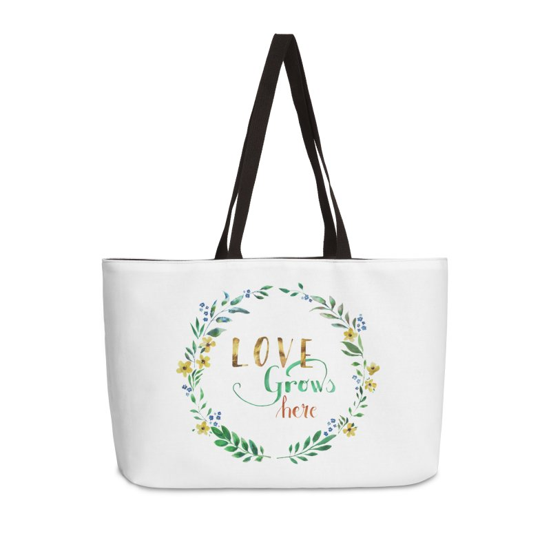 Love Grows Here Accessories Bag by tanjica's Artist Shop