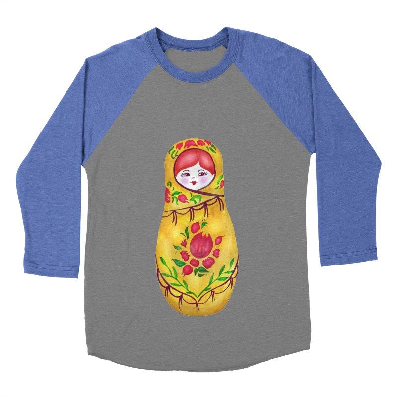Russian Matryoshka Nesting Doll Men's Baseball Triblend Longsleeve T-Shirt by tanjica's Artist Shop