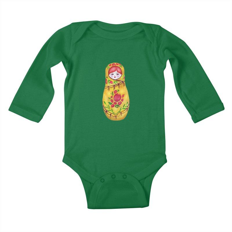 Russian Matryoshka Nesting Doll Kids Baby Longsleeve Bodysuit by tanjica's Artist Shop