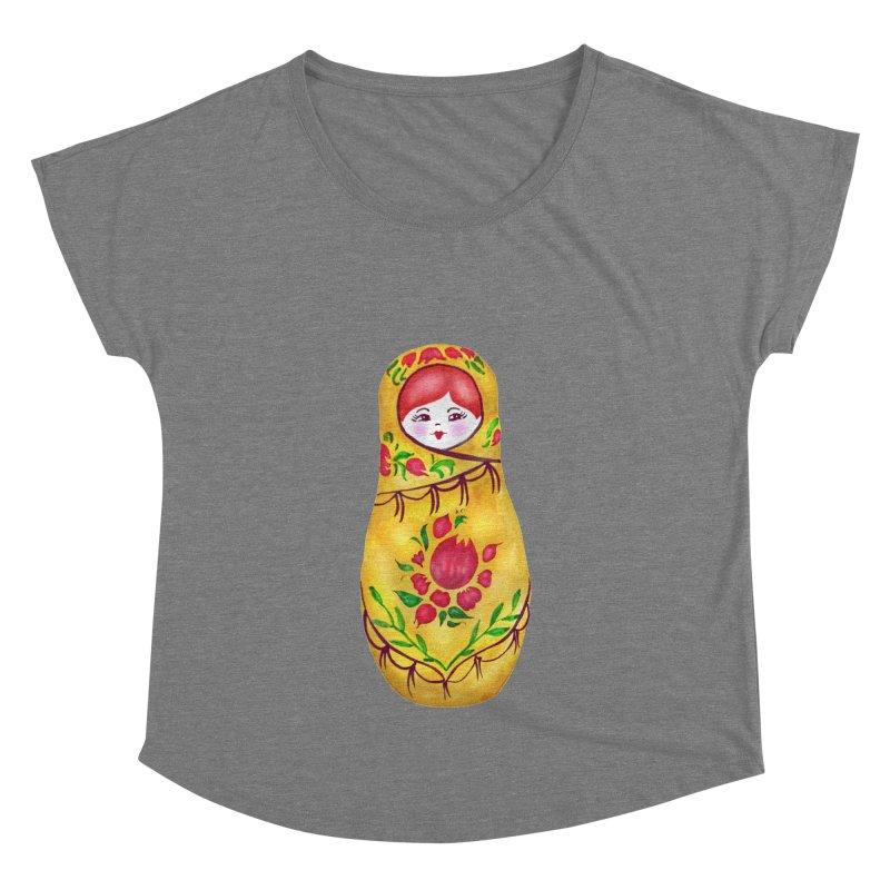 Russian Matryoshka Nesting Doll Women's Dolman Scoop Neck by tanjica's Artist Shop