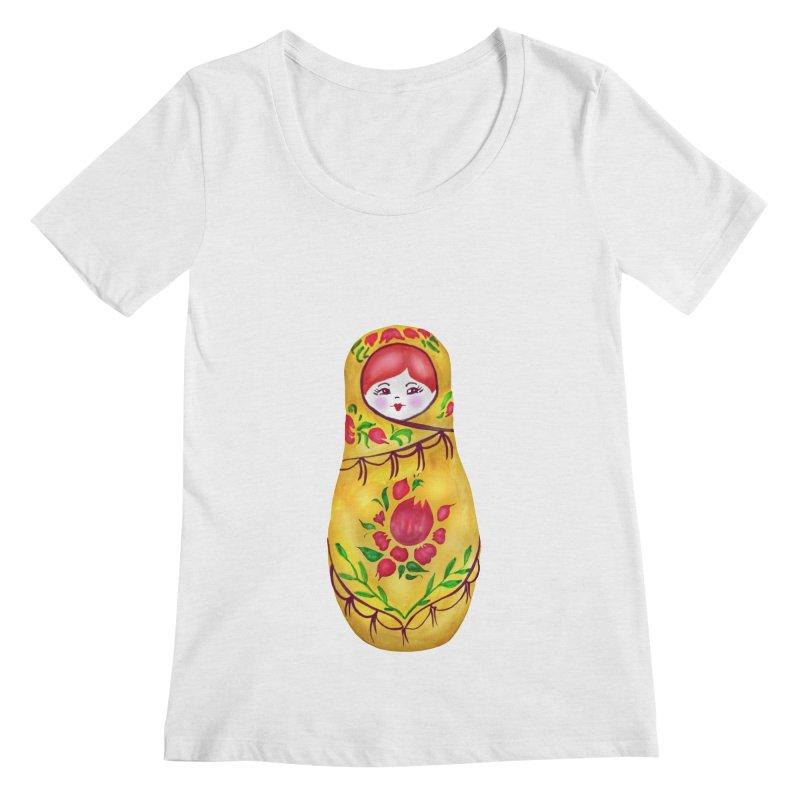 Russian Matryoshka Nesting Doll Women's Regular Scoop Neck by tanjica's Artist Shop