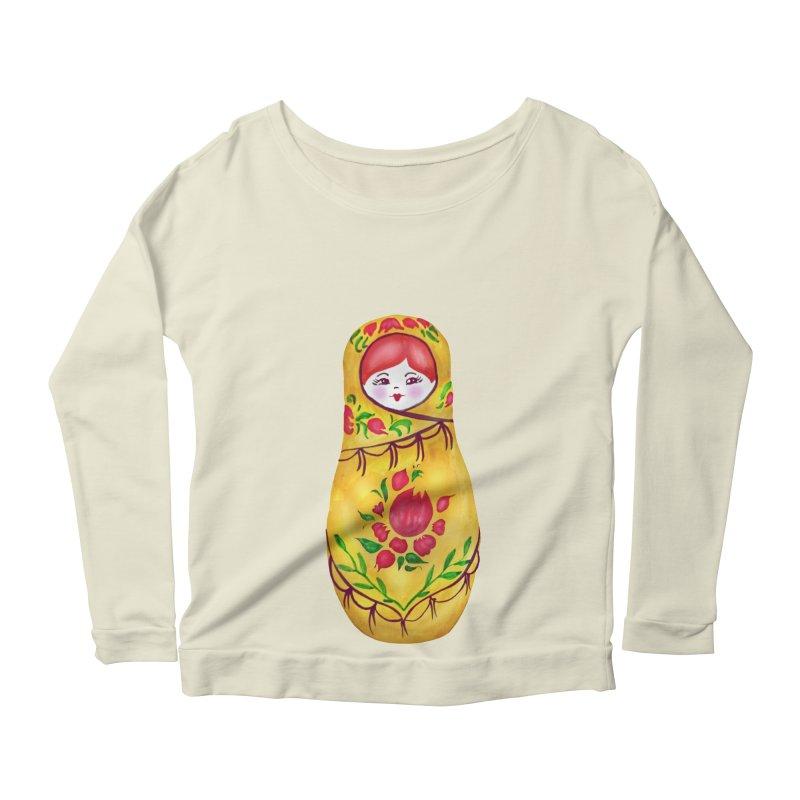 Russian Matryoshka Nesting Doll Women's Longsleeve Scoopneck  by tanjica's Artist Shop