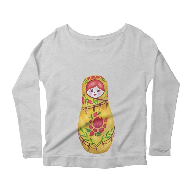 Russian Matryoshka Nesting Doll Women's Scoop Neck Longsleeve T-Shirt by tanjica's Artist Shop