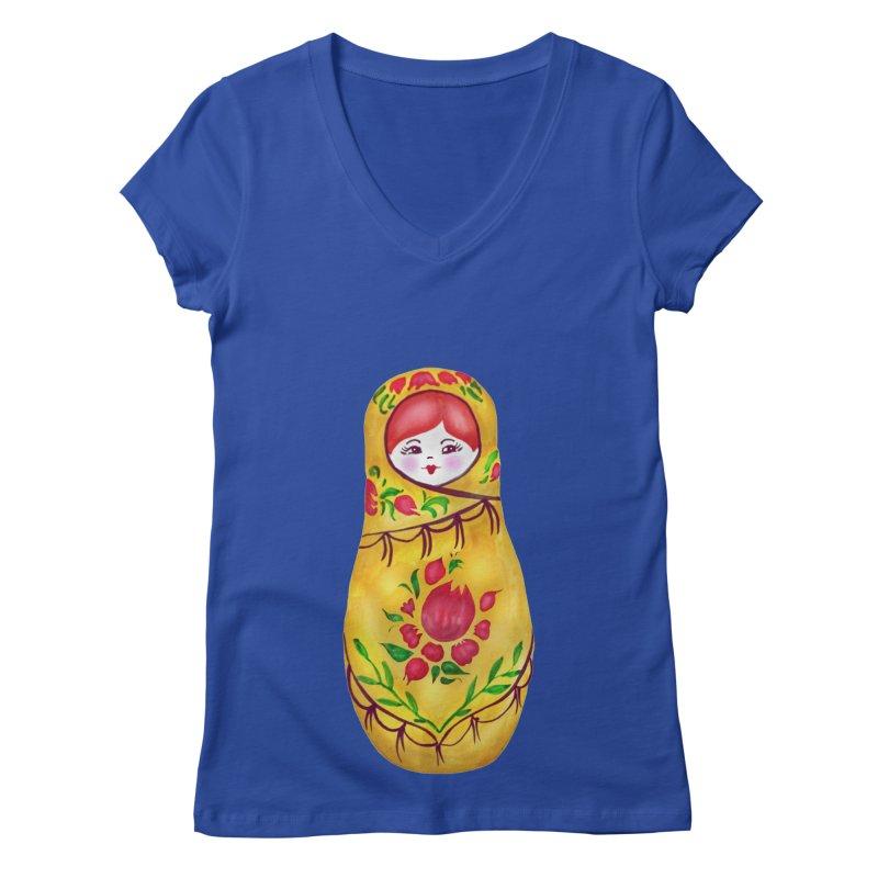 Russian Matryoshka Nesting Doll Women's Regular V-Neck by tanjica's Artist Shop