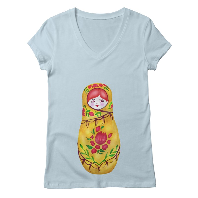 Russian Matryoshka Nesting Doll Women's V-Neck by tanjica's Artist Shop