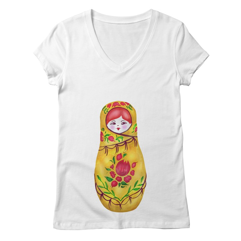 Russian Matryoshka Nesting Doll Women's Regular V-Neck by tanjica's Artist Shop