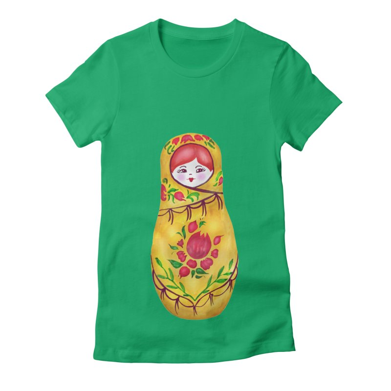 Russian Matryoshka Nesting Doll Women's Fitted T-Shirt by tanjica's Artist Shop