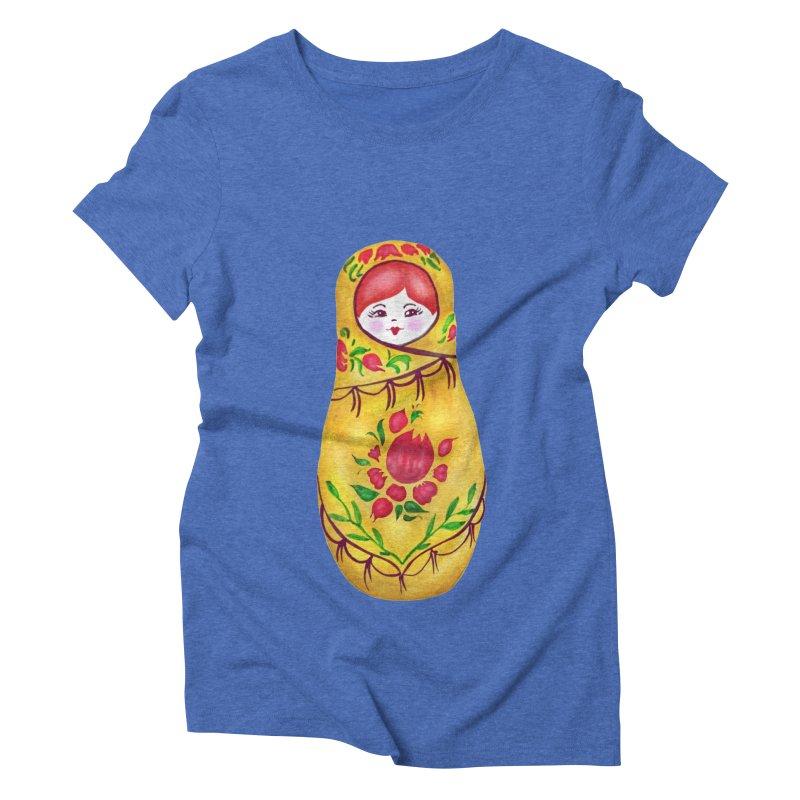Russian Matryoshka Nesting Doll Women's Triblend T-Shirt by tanjica's Artist Shop
