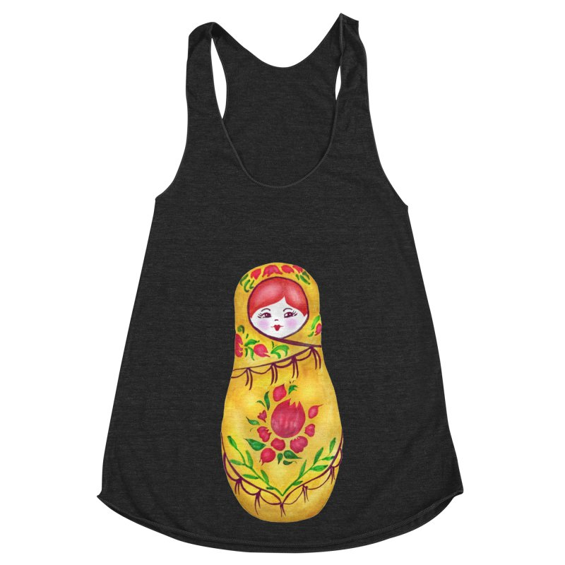 Russian Matryoshka Nesting Doll Women's Racerback Triblend Tank by tanjica's Artist Shop