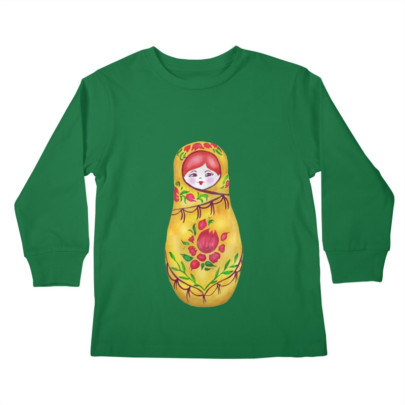 Russian Matryoshka Nesting Doll Kids Longsleeve T-Shirt by tanjica's Artist Shop