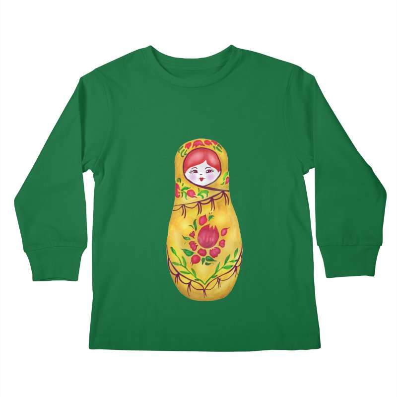 Russian Matryoshka Nesting Doll Kids Longsleeve T-Shirt by tanjica's Artist Shop