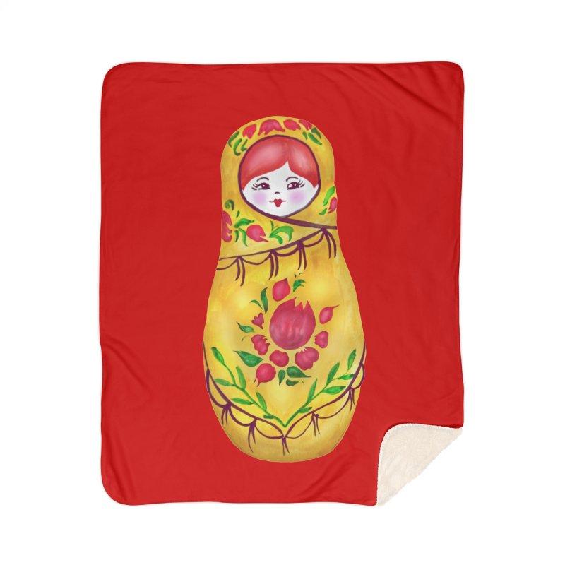 Russian Matryoshka Nesting Doll Home Sherpa Blanket Blanket by tanjica's Artist Shop