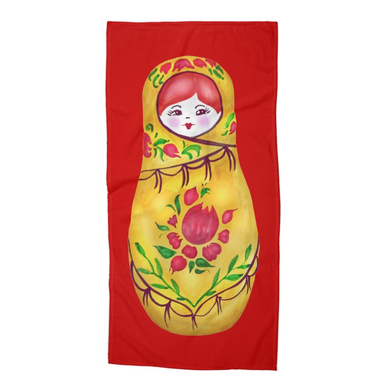 Russian Matryoshka Nesting Doll Accessories Beach Towel by tanjica's Artist Shop