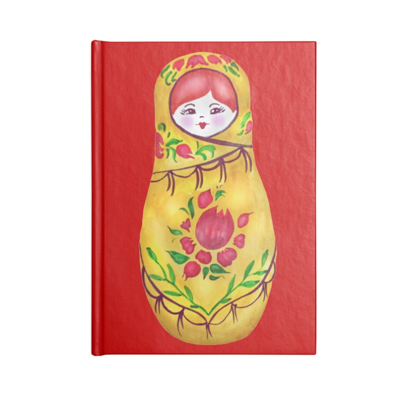 Russian Matryoshka Nesting Doll Accessories Lined Journal Notebook by tanjica's Artist Shop