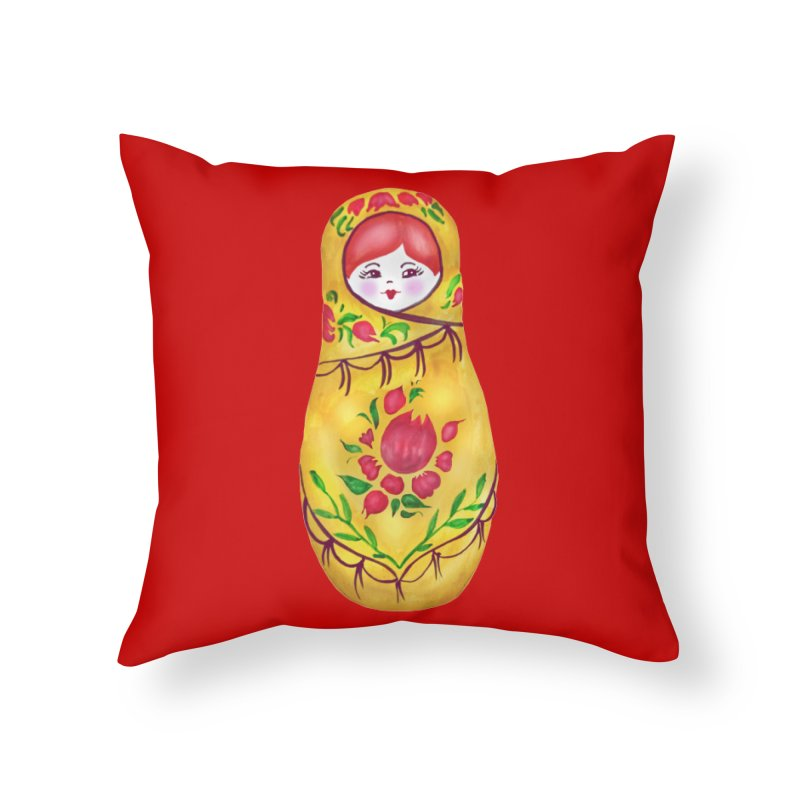Russian Matryoshka Nesting Doll Home Throw Pillow by tanjica's Artist Shop