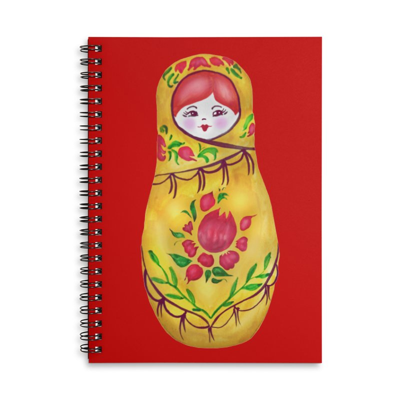 Russian Matryoshka Nesting Doll Accessories Lined Spiral Notebook by tanjica's Artist Shop