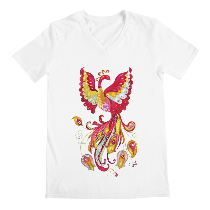 Firebird - Mythical Creature Men's Regular V-Neck by tanjica's Artist Shop