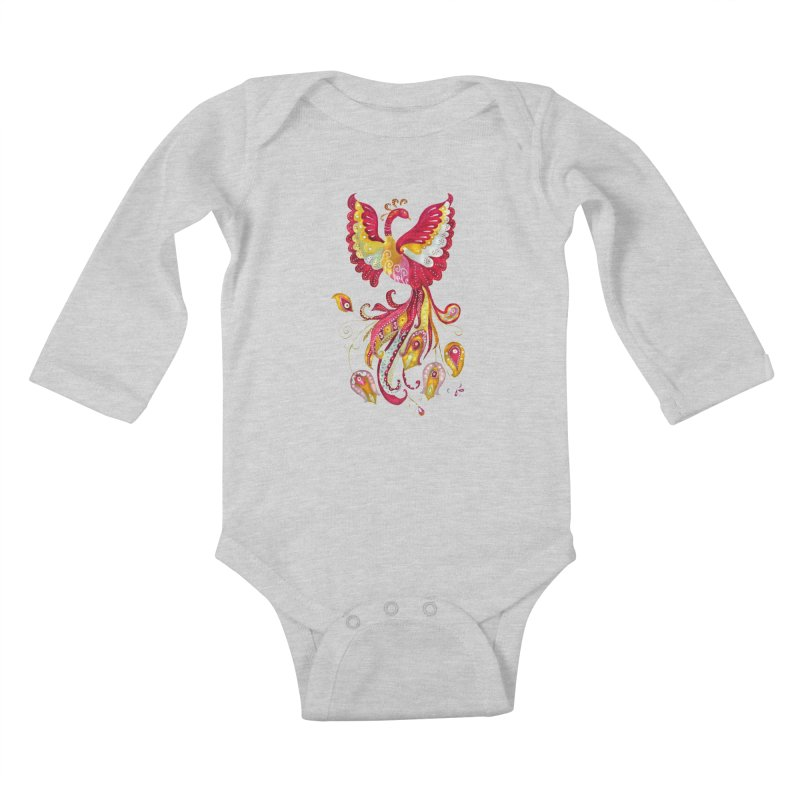 Firebird - Mythical Creature Kids Baby Longsleeve Bodysuit by tanjica's Artist Shop