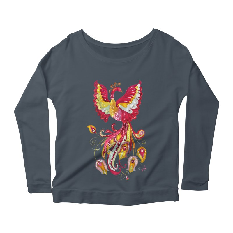 Firebird - Mythical Creature Women's Longsleeve Scoopneck  by tanjica's Artist Shop