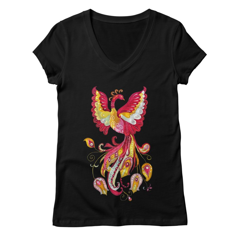 Firebird - Mythical Creature Women's V-Neck by tanjica's Artist Shop