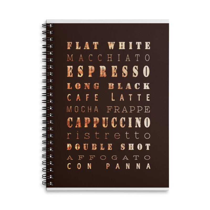 Coffee Types Accessories Lined Spiral Notebook by tanjica's Artist Shop