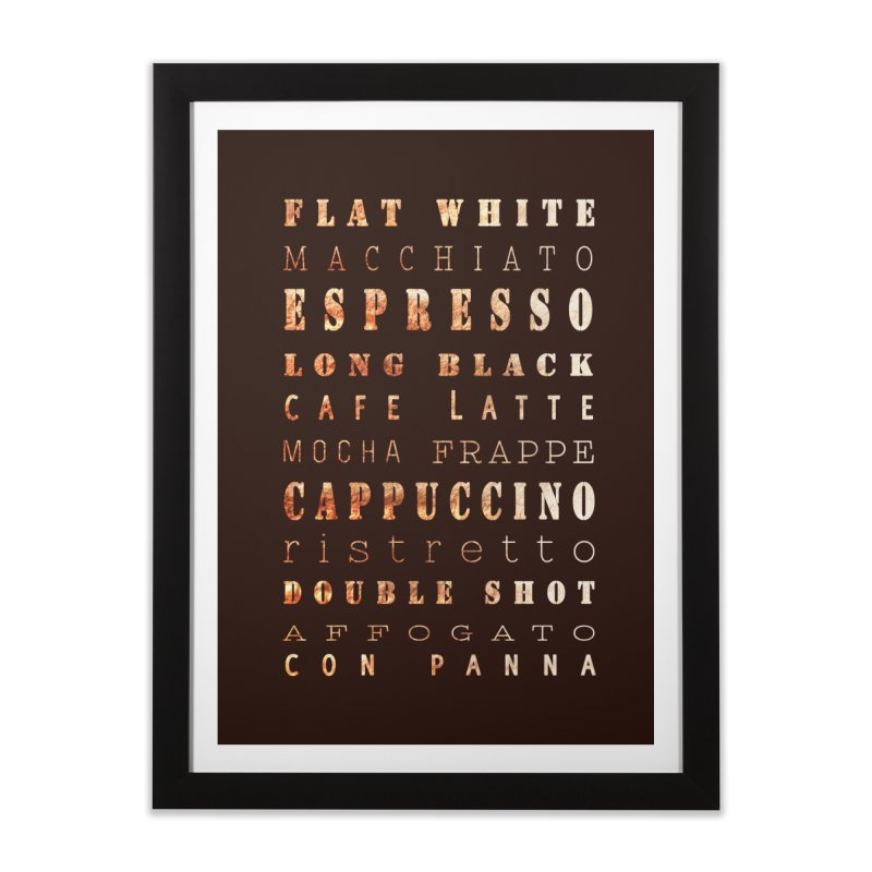 Coffee Types Home Framed Fine Art Print by tanjica's Artist Shop