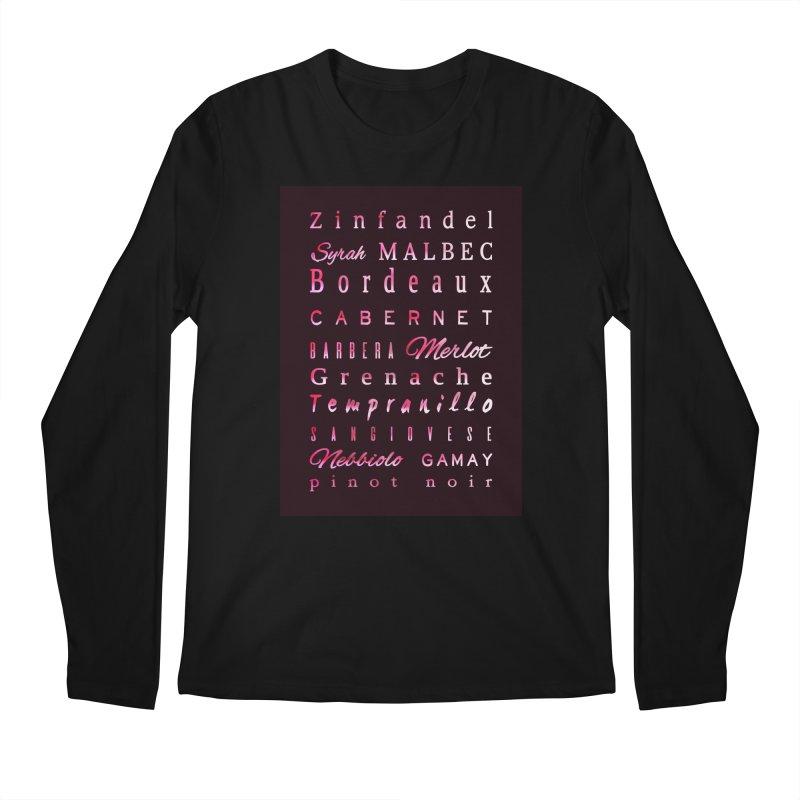 Red Wine Types Men's Longsleeve T-Shirt by tanjica's Artist Shop