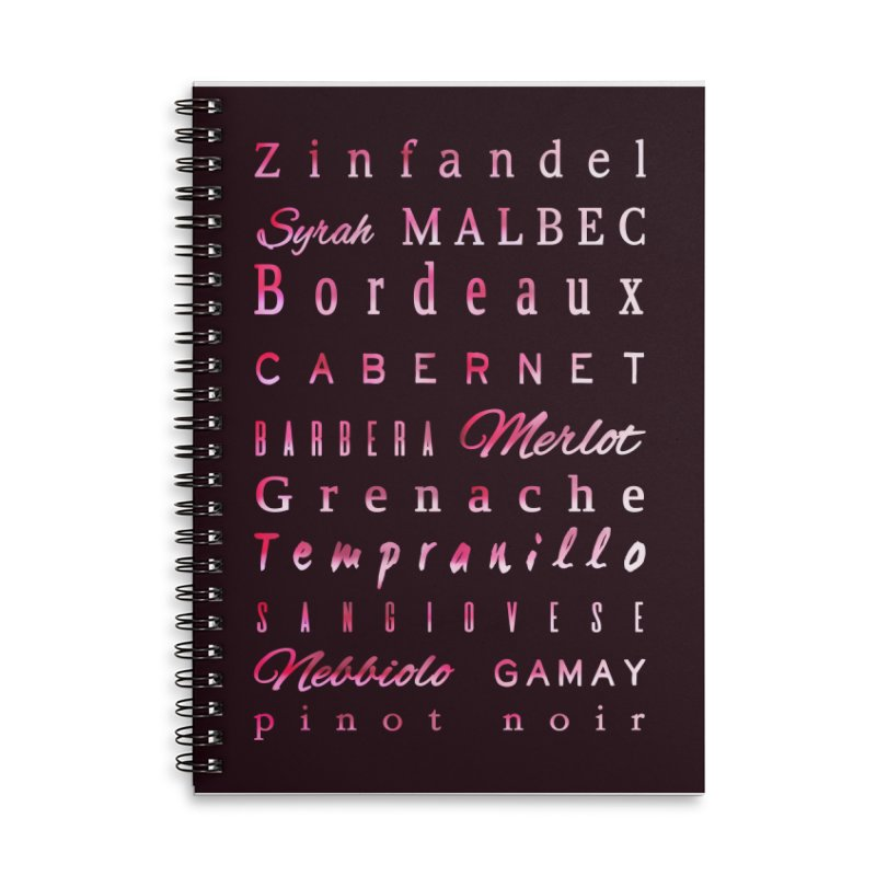 Red Wine Types Accessories Lined Spiral Notebook by tanjica's Artist Shop