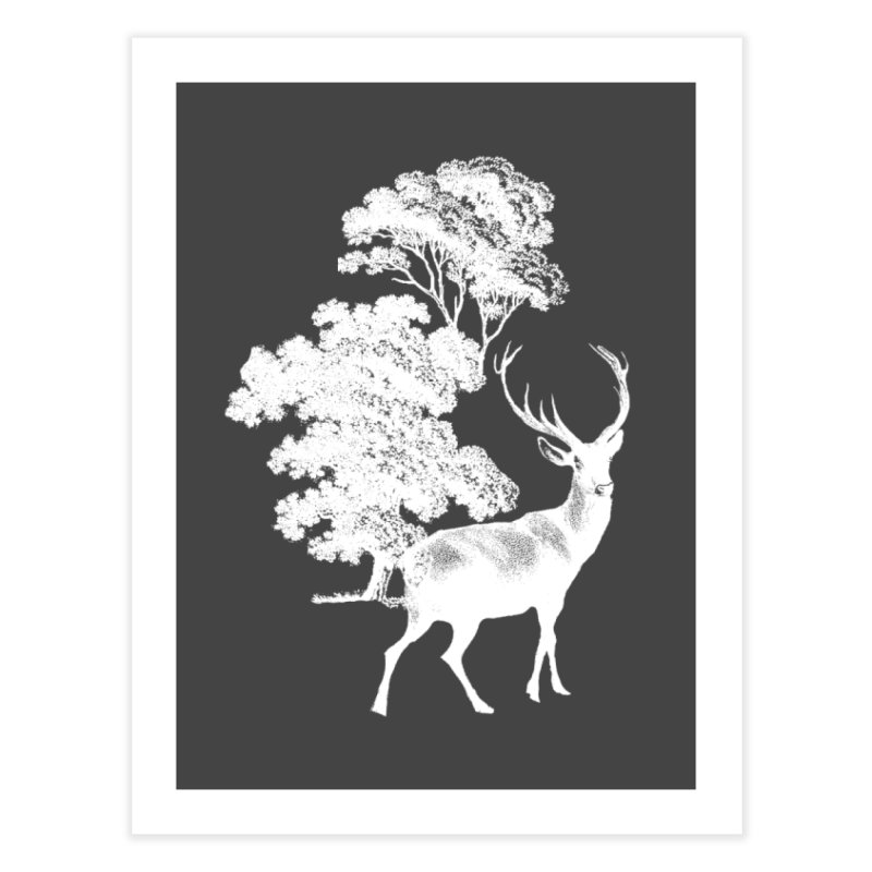 White Vintage Deer Stag in Forest Home Fine Art Print by tanjica's Artist Shop