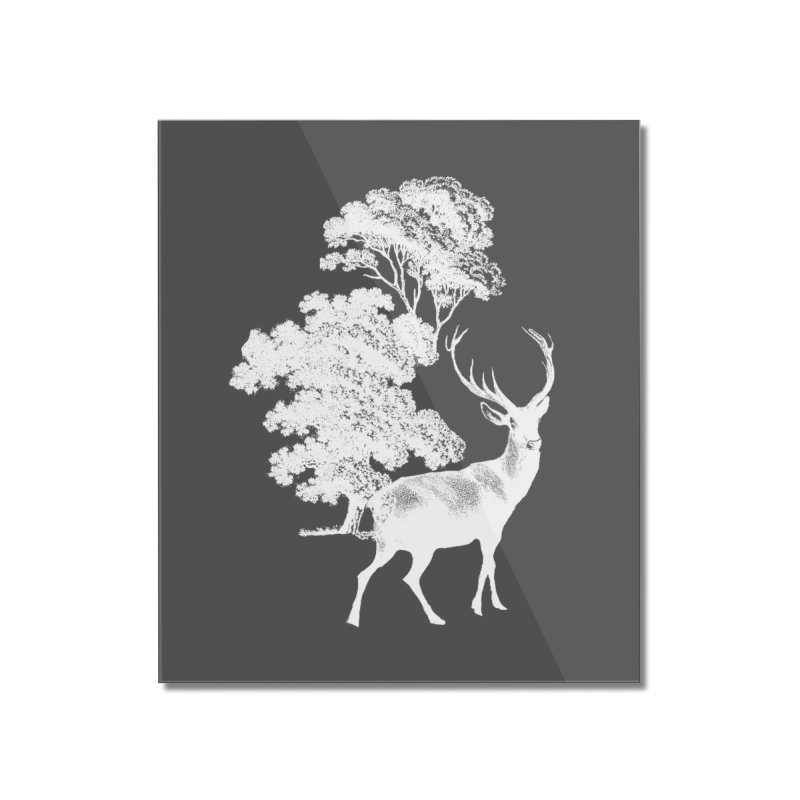 White Vintage Deer Stag in Forest Home Mounted Acrylic Print by tanjica's Artist Shop