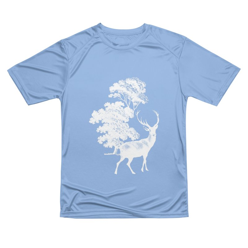 White Vintage Deer Stag in Forest Men's T-Shirt by tanjica's Artist Shop
