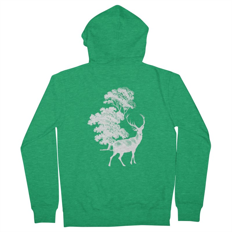 White Vintage Deer Stag in Forest Men's Zip-Up Hoody by tanjica's Artist Shop